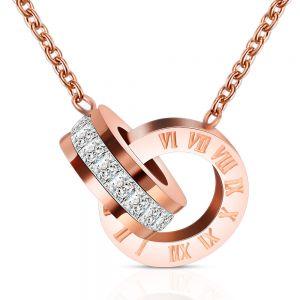 """Κολιέ """"titanium butterfly"""" με αλυσίδα τιτανίου και πεταλουδίτσα pink gold"""
