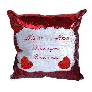 Μαξιλάρι με κόκκινες παγιέτες με το μήνυμα ή το φωτογραφία σας