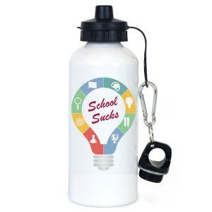 Μπουκάλι νερού μεταλλικό λευκό με τη φωτογραφία ή το μήνυμά σας