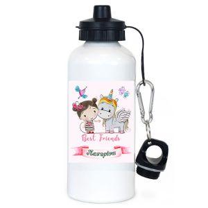 Μπουκάλι νερού λευκό 600ml με θέμα Smiling Unicorn