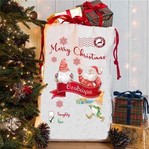 Υφασμάτινος σάκος για τα δώρα του Αγιου Βασίλη με το όνομά σας