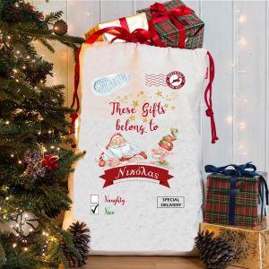 Υφασμάτινη τσάντα με γιορτινό σχέδιο τα ομορφα νανάκια με αφιέρωση για τη Νονά Happy New Year