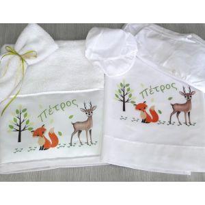 Πετσέτα σώματος και σεντονάκι με τα ζωάκια του δάσους και το όνομα του παιδιού