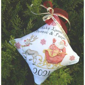 Κρεμαστό μαξιλαράκι στολίδι για το Χριστουγεννιάτικο δέντρο με φωτογραφία μωρού My First Christmas